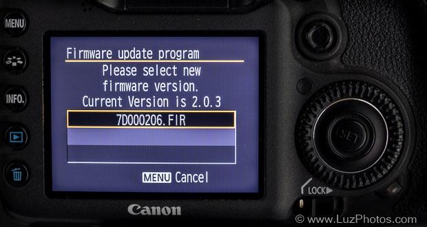 Mise à jour d'un firmware Canon - Sélection du fichier de mise à jour