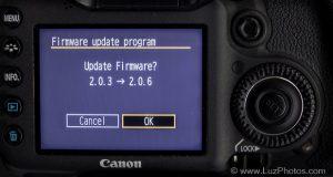 Mise à jour d'un firmware Canon - Confirmation du lancement de la mise à jour vers la nouvelle version du firmware