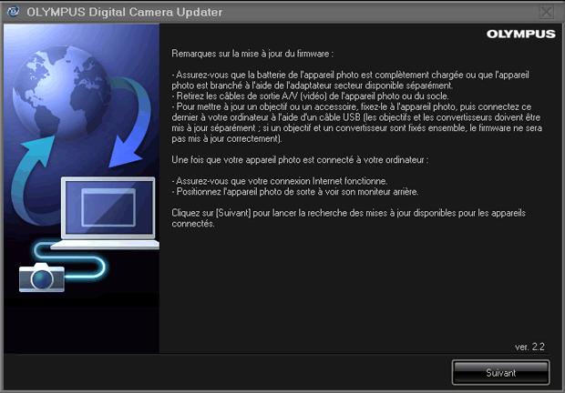 Mise à jour d'un firmware chez Olympus - Lancement de l'utilitaire Olympus Digital Camera Updater