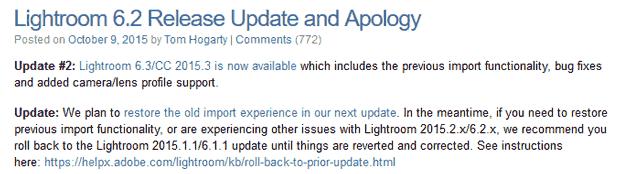 Mise à jour Lightroom CC 2015.2 / 6.2 - Refonte du module d'import (perte de fonctionnalités et instabilité du programme) : excuses et retour en arrière d'Adobe
