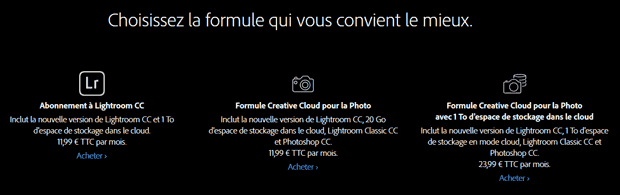 Fin de Lightroom en licence permanente : nouvelles formules d'abonnement Creative Cloud (Lightroom Classic CC et Lightroom CC)
