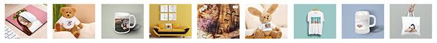 Idées cadeaux photo : tirages photo sur des objets divers (mug, tapis de souris, T-shirt, peluche, puzzle...)