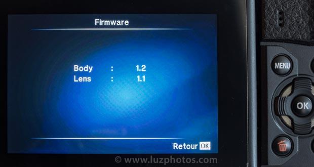 Mise à jour du firmware de l'appareil photo Olympus OMD-EM10 mark II - versions des Firmwares de l'APN et de l'objectif