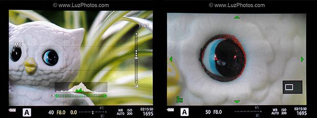 Aide à la mise au point manuelle sur un viseur électronique : zoom avec focus peaking