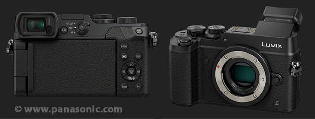 Exemple d'un appareil photo hybride avec viseur électronique à gauche et inclinable (Panasonic Lumix DMC-GX8)