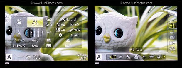 Exemples de menus rapides affichables directement dans le viseur électronique