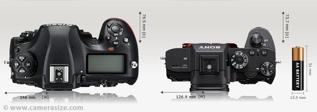 Comparatif des dimensions entre 2 APN plein format : reflex (Nikon D850) contre hybride (Sony Alpha 7R III), viseur optique contre viseur électronique