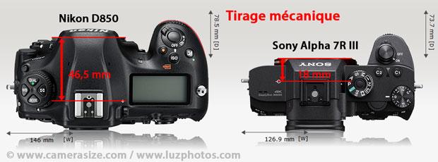 Comparatif du tirage mécanique entre 2 APN plein format : reflex Nikon D850 avec viseur optique (tirage de 46,5 mm) contre hybride Sony Alpha 7R III avec viseur électronique (tirage de 18 mm)