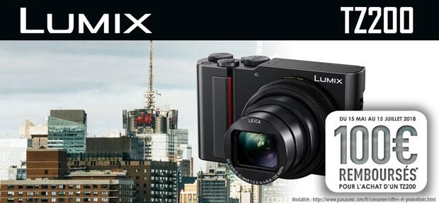 Promotion printemps-été 2018 Panasonic Lumix TZ200 - Offre de remboursement de 100 €