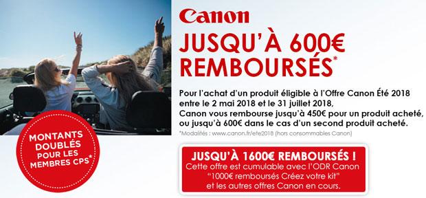 Promotion printemps-été 2018 Canon - Offre de remboursement jusqu'à 600 €