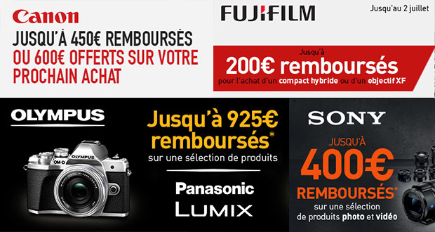 Promotion photo printemps-été 2018 : Canon, Fujifilm, Olympus, Panasonic, Sony