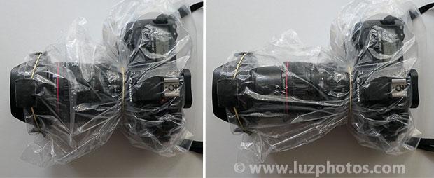 Photo en hiver : créer soi-même une protection contre la pluie et la neige à partir d'un sac transparent