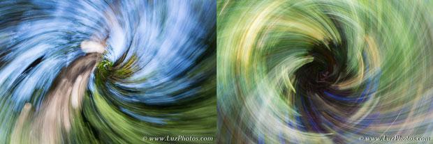 Exemples de flous de bougé volontaires : zooming associé à un mouvement rotatif
