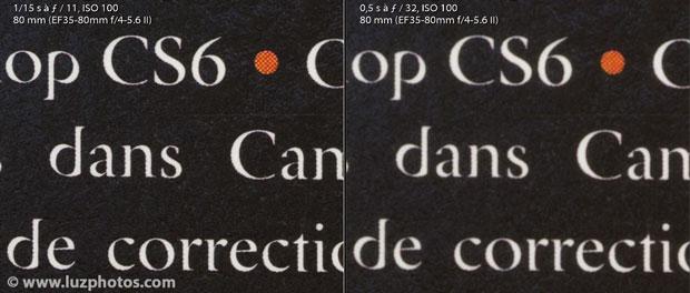 Illustration du flou de diffraction : photo à 100% avec ouverture de f/11 et f/32