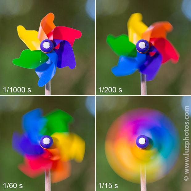 Illustration du flou de mouvement selon la vitesse d'obturation (d'une vitesse élevée à une vitesse lente)