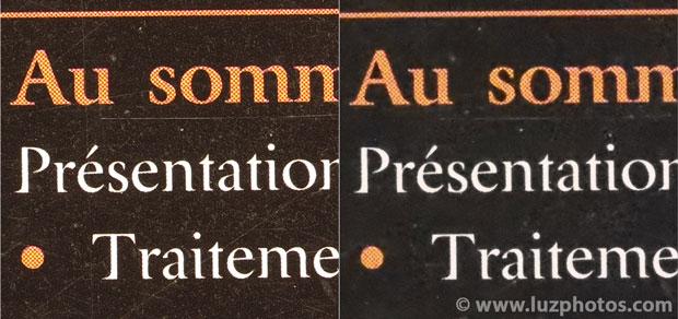 Flou dû au traitement anti-bruit lié aux hautes sensibilités : comparaison d'une photo référence (64 ISO) et d'une photo prise à 25600 ISO avec traitement anti-bruit élevé