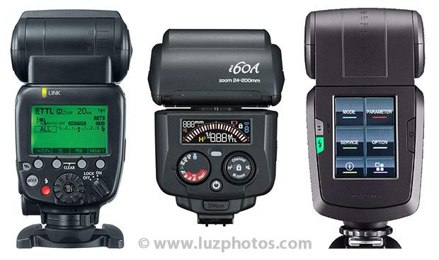 Choix flash cobra - l'importance de l'ergonomie : exemple de 3 dos de flashs présentant une ergonomie très différente