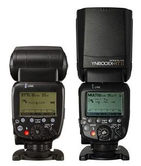 Choix flash cobra - marque d'appareil photo ou marque tierce : image montrant le flash Canon Speedlite 600EX RT II et sa copie Yongnuo