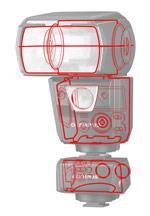 Choix d'un flash cobra : la tropicalisation - Visuel avec représentation des joints d'étanchéité sur le flash Olympus FL-700WR