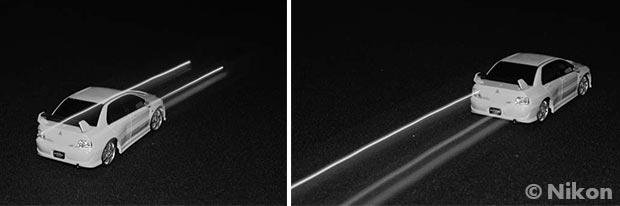Choix flash cobra - Explication de l'utilité du mode synchronisation second rideau (illustration du sens du mouvement)