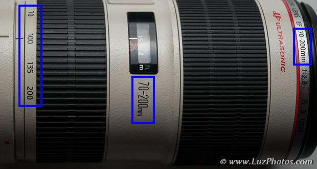 Mention de la plage de focales sur un zoom Canon 70-200 mm