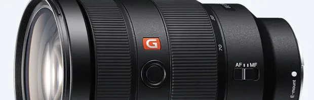 """Objectifs Sony de la série haut de gamme """"GM"""" pour """"G Master"""" (G blanc sur fond rouge inscrit sur le fût de l'objectif)"""