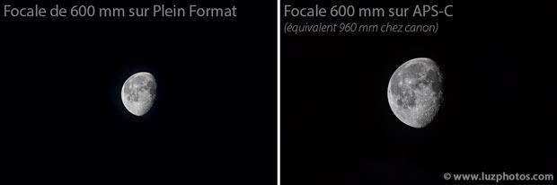 A gauche photo prise à la focale de 600 mm sur appareil plein format et à droite photo photo prise avec la même focale mais sur capteur APS-C (la seconde apparait bien plus grosse)