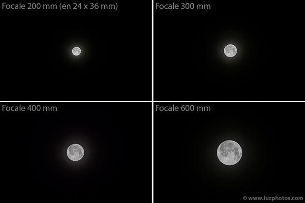 Cadrage et taille de la lune en fonction de la focale (donnée en équivalent 24x36 mm) : 4 photos prises avec 4 focales différentes (200mm, 300 mm, 400 mm et 600 mm)