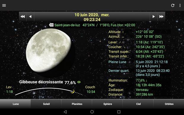"""Savoir quand photographier la lune avec l'application """"Daff Lune"""" - Visuel de la phase de la lune avec de nombreuses informations"""