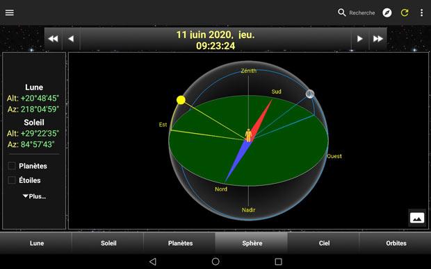 """Savoir quand photographier la lune avec l'application """"Daff Lune"""" - Visualisation en 3D de la position de la lune par rapport à la terre"""