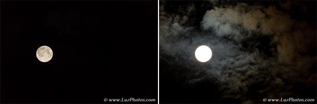 Photo de la lune avec des nuages - Les 2 photos à fusionner pour créer un montage avec une bonne exposition pour la lune et les nuages
