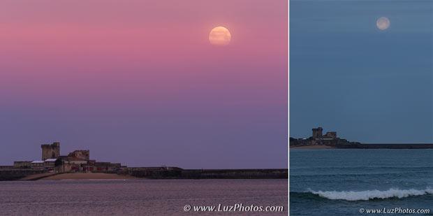 Exemple de 2 photos avec un premier plan et la lune (fort de Socoa pris depuis la plage de Saint-Jean-de-Luz)