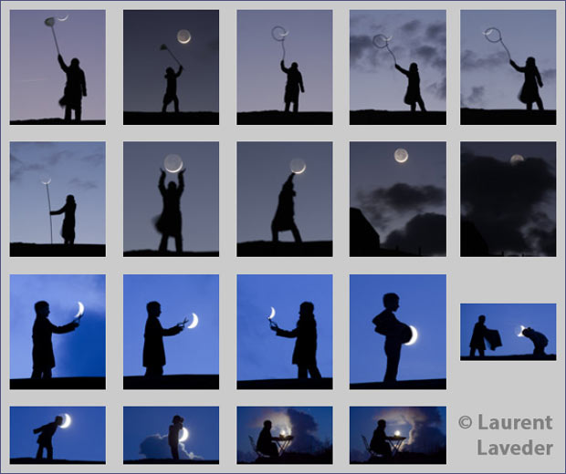 Exemples de photos de lune jouant sur la perspective (photos de Laurent Laveder)