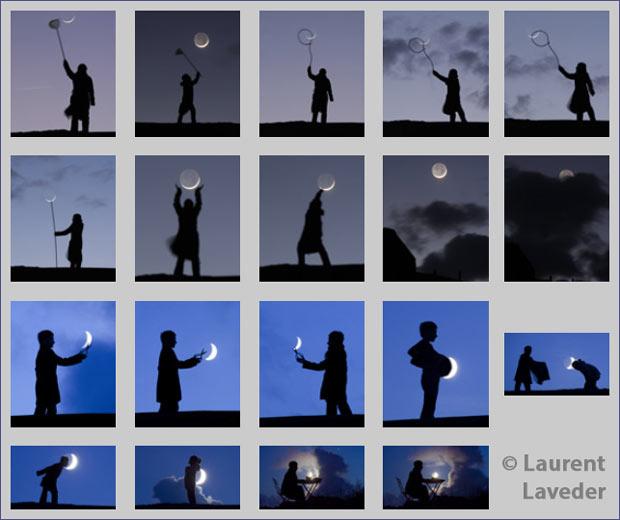 Exemples de photos de lune jouant sur la perspective (photos de Laurent Laveder)