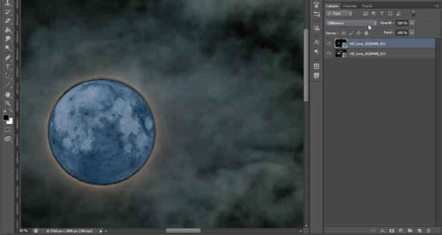"""Photographier la lune : fusion de 2 photos - Utilisation du mode de fusion """"Différence"""""""