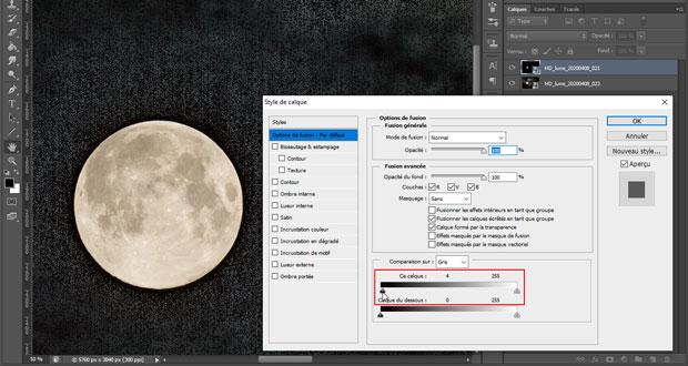 Photographier la lune : fusion de 2 photos - Utilisation des options de fusion (déplacement du curseur des noirs vers la droite)