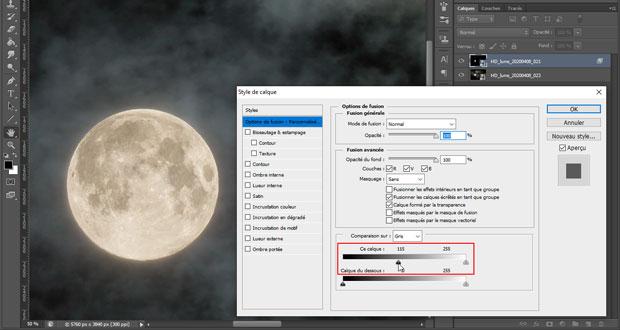 Photographier la lune : fusion de 2 photos - Utilisation des options de fusion (retour en arrière vers la gauche du curseur des noirs)