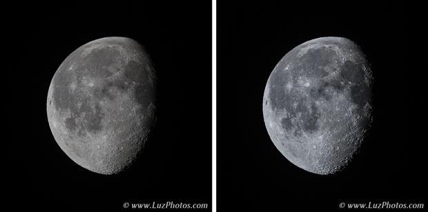 A gauche photo de la lune avant post-traitement et à droite photo de la lune après post-traitement (modification de la balance des blancs et accentuation du relief)