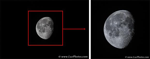 A gauche, photo originale de la lune avant recadrage ; A droite photo de la lune après un recadrage