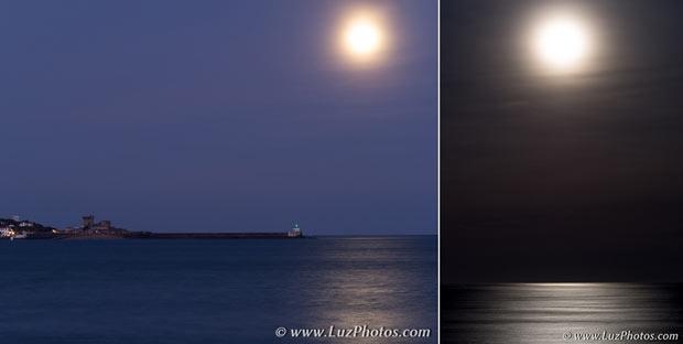 Exemples de 2 photos de la lune avec ses reflets sur l'eau : la première avec le fort de Socoa depuis la plage de Saint-Jean-de-Luz et la seconde beaucoup plus minimaliste