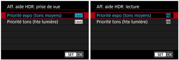Le format HEIF chez Canon - Choix entre 2 options d'affichage