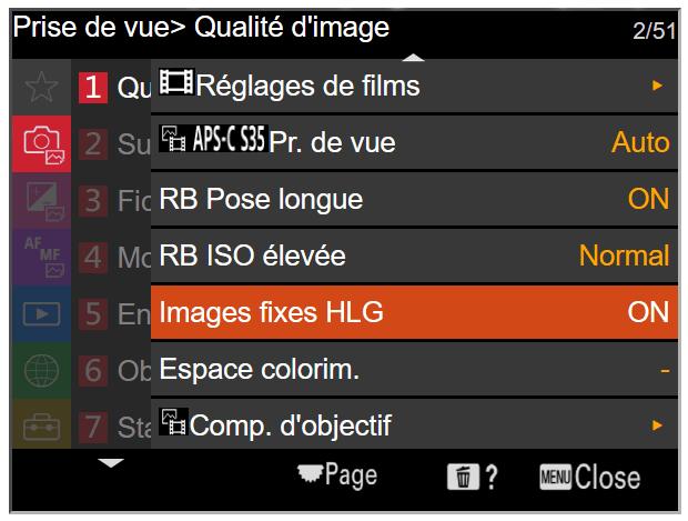 """Le format HEIF chez Sony - Activation des images HDR par le menu """"Images fixes HLG"""""""