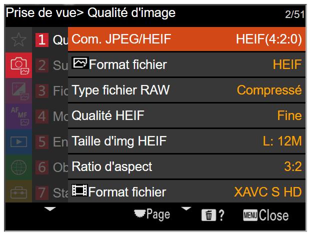 """Le format HEIF chez Sony - Activation par le menu """"Com. JPEG/HEIF"""""""