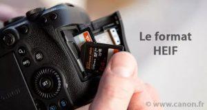 Le format HEIF remplaçant du JPEG - Image d'illustration carte mémoire retirée d'un boîtier Canon EOS R5